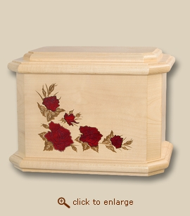Red Roses Art Inlay Maple Wood Cremation Urn