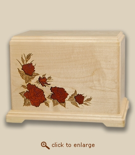 Red Roses Inlay Companion Cremation Urn