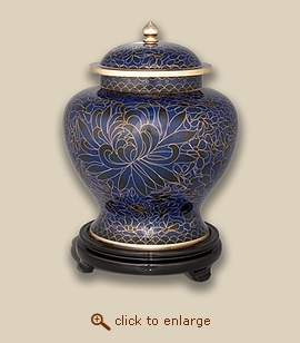 Royal Blue Cloisonne Art Pet Urn