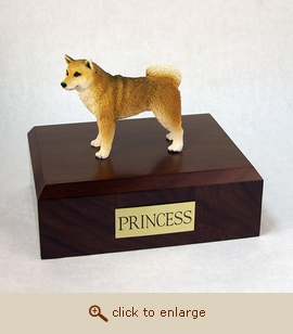 Shiba - Dog Figurine Wood Pet Urn