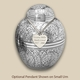 Silver Oak Cremation Urn with Optional Pendant