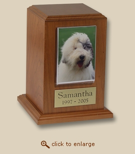 Small Tower Photo Frame Cherry Wood Pet Cremation Urn