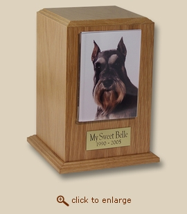 Small Tower Photo Frame Oak Wood Pet Cremation Urn