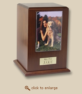 Small Tower Photo Frame Walnut Wood Pet Cremation Urn