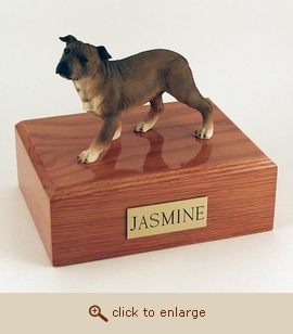 Staffordshire Terrier - Dog Figurine Wood Pet Urn