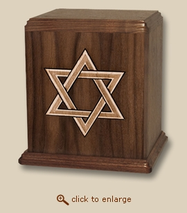 Star of David Inlay Art Wood Cremation Urn
