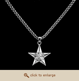 Sterling Silver Cremation Jewelry - 5 Pointed Star Pendant