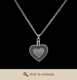 Sterling Silver Cremation Jewelry - Antique Heart Pendant