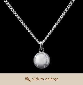 Sterling Silver Cremation Jewelry - Baseball Pendant