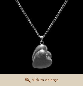 Sterling Silver Cremation Jewelry - Double Heart Pendant