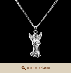 Sterling Silver Cremation Jewelry - Guardian Angel Pendant