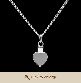 Sterling Silver Cremation Jewelry - Heart Pendant