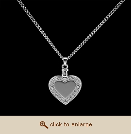 Sterling Silver Cremation Jewelry - Heart with Border Pendant