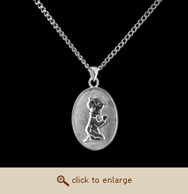 Sterling Silver Cremation Jewelry - Kneeling Boy Pendant