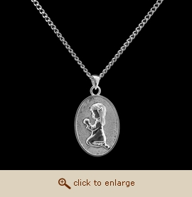 Sterling Silver Cremation Jewelry - Kneeling Girl Pendant