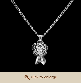 Sterling Silver Cremation Jewelry - Peony Pendant