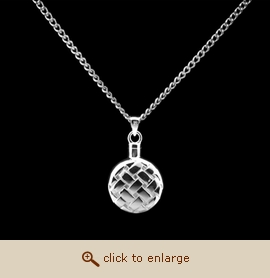 Sterling Silver Cremation Jewelry - Quilted Flask Pendant