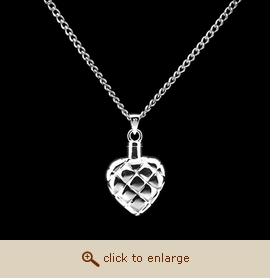 Sterling Silver Cremation Jewelry - Quilted Heart Pendant