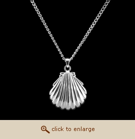 Sterling Silver Cremation Jewelry - Shell Pendant