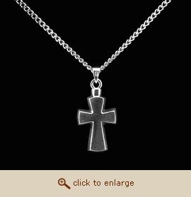 Sterling Silver Cremation Jewelry - Stylized Cross Pendant
