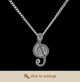 Sterling Silver Cremation Jewelry - Treble Clef Pendant