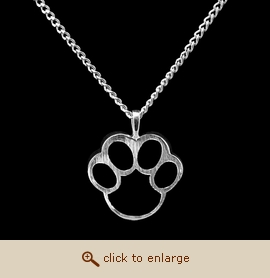 Sterling Silver Pet Cremation Jewelry - Black Paw