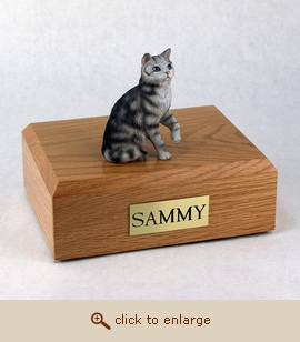 Tabby - Cat Figurine Wood Pet Urn