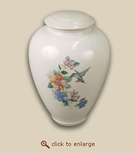 Tivoli II Hummingbird Hand Thrown Porcelain Cremation Urn