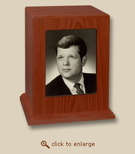 Vertical Photo Display Cherry Wood Cremation Urn