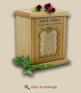 Vines Border Engraved Recessed Poem Wood Cremation Urn