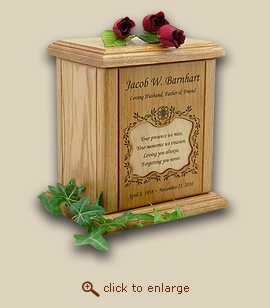 Vines Border Small Recessed Poem Xlarge Wood Cremation Urn