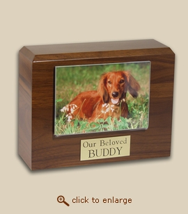 Walnut Pet Photo Urn - 4 Sizes
