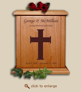 Wood Cremation Urn - Cross