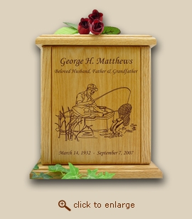 Wood Cremation Urn - Fisherman
