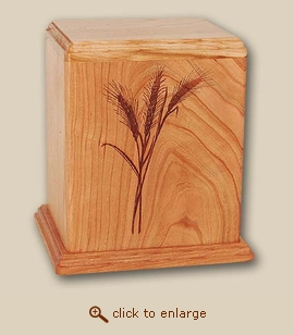 Wood Cremation Urn - Newport Wheat