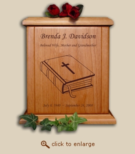 Wood Cremation Urn - Religious Bible