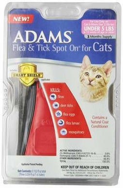 Adams Flea and Tick Spot on for Cats and Kittens with Smart Shield Applicator, 3-Month Supply