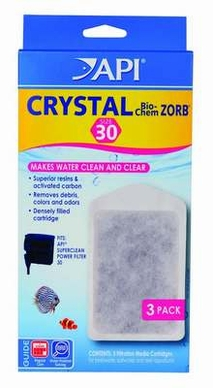 API SUPERCLEAN Power Filter Crystal Bio-Chem Zorb Size 30 3pk