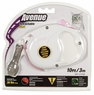 Avenue Retractable Cord Leash for Cats, 10', White and Pink, From Hagen