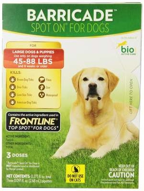 Barricade By Bio Spot On Dog Large 45 - 88lbs 3 Month