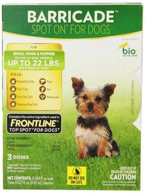 Barricade By Bio Spot On Dog Small 22lbs 3 Month