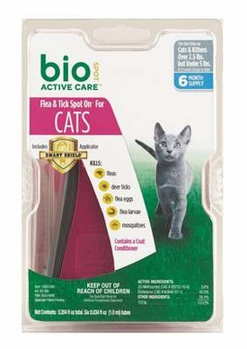 Bio-Spot Active Care Spot On with Applicator for Cats Under 5-Pound, 6 Month Supply