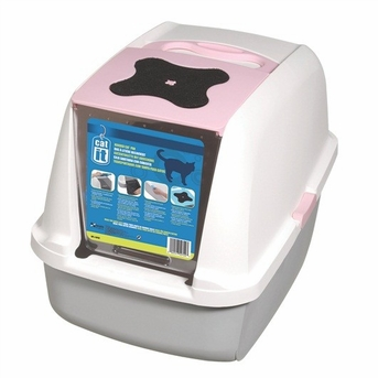 Catit Hooded Cat Litter Pan, White/Pink, From Hagen