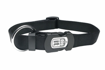 """Dogit Adjustable Nylon Collar with Snap - Single Ply 3/4""""x 16""""-22"""" black, From Hagen"""
