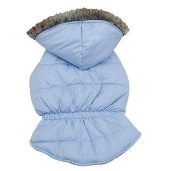Dogit Coat with Faux Fur Trimmed Hoodie, Frosted Blue, Large, From Hagen