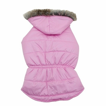 Dogit Coat with Faux Fur Trimmed Hoodie, Rose, Medium, From Hagen