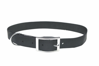 """Dogit Nylon Collar with Buckle - Double Ply 1""""x 22"""" black, From Hagen"""
