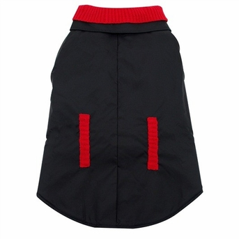 Dogit Peacoat, Black with Red Knit Accents, Large, From Hagen