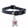 "Dogit Style Adjustable Leather Collar Black with Pewter Skull Charm,  3/8""x 9-14""  , From Hagen"