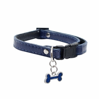 """Dogit Style Adjustable Leather Collar Blue with Pewter Bone Charm,  3/8""""x 9-14""""  , From Hagen"""